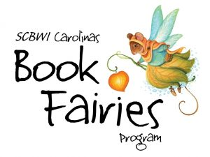 SCBWI Carolinas Book Fairies Program logo with a clothed fairy mouse with wings